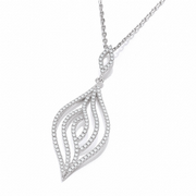 "J-Jaz Micro Pave' Leaf Cz Pendant with 18"" Chain #2"